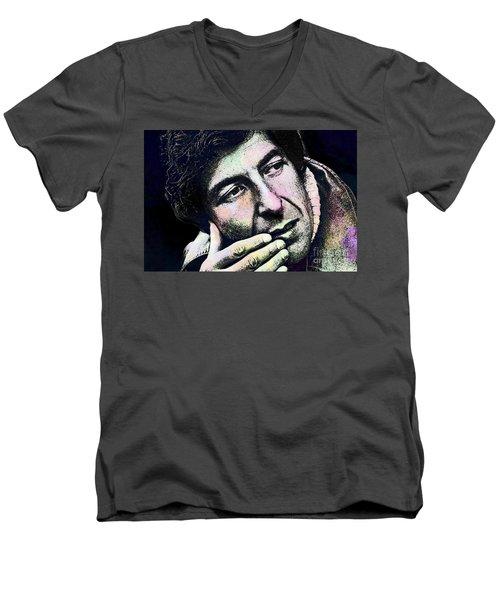 Leonard Cohen - Drawing Tribute Men's V-Neck T-Shirt by Ian Gledhill