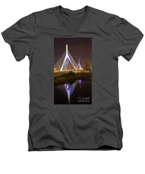 Leonard P. Zakim Bunker Hill Bridge Reflection Men's V-Neck T-Shirt