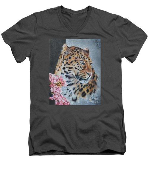 Leopard And Roses Men's V-Neck T-Shirt