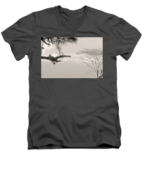 Leopard Resting On A Tree Men's V-Neck T-Shirt