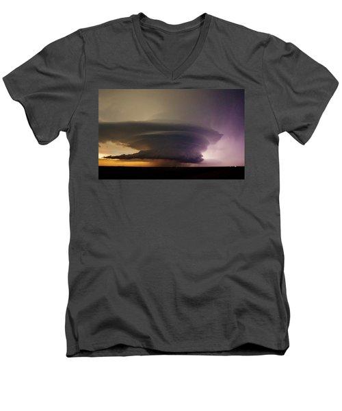 Leoti, Ks Supercell Men's V-Neck T-Shirt by Ed Sweeney