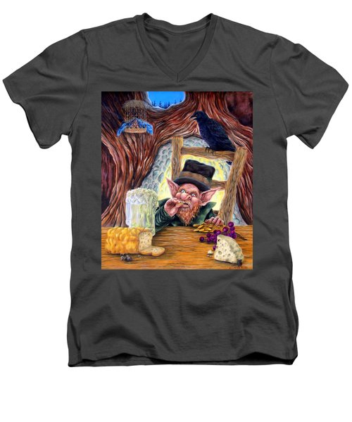 Men's V-Neck T-Shirt featuring the painting Leprechaun's Lair by Heather Calderon