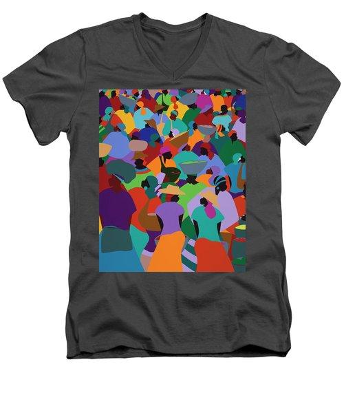 Les Palmes Market Haiti Men's V-Neck T-Shirt