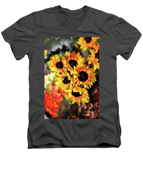 Les Tournesols Men's V-Neck T-Shirt by Jack Torcello