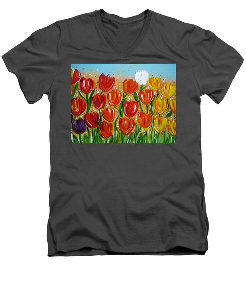 Men's V-Neck T-Shirt featuring the painting Les Tulipes - The Tulips by Gioia Albano