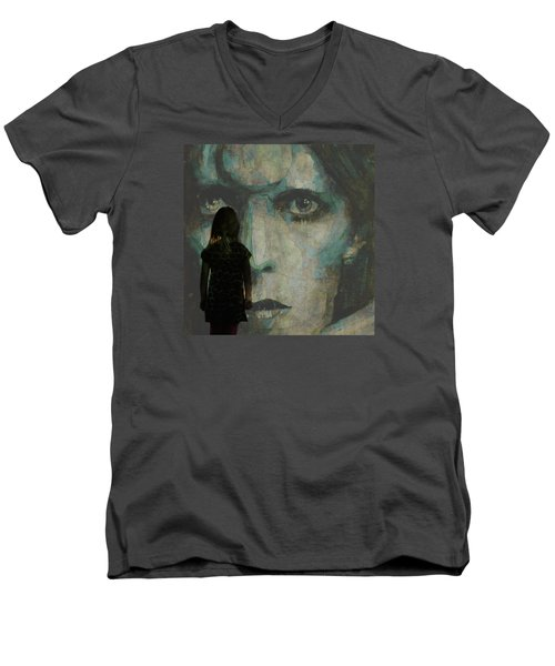 Men's V-Neck T-Shirt featuring the painting Let The Children Lose It Let The Children Use It Let All The Children Boogie by Paul Lovering