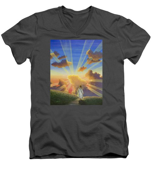 Let The Day Begin Men's V-Neck T-Shirt by Jack Malloch