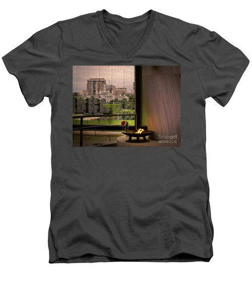 Men's V-Neck T-Shirt featuring the photograph Let The Flame Never Die by Melissa Messick