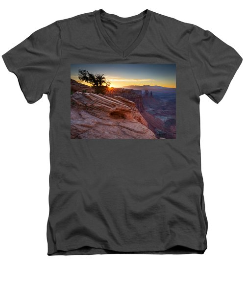 Men's V-Neck T-Shirt featuring the photograph Let There Be Light by Dan Mihai