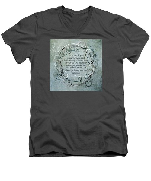 Men's V-Neck T-Shirt featuring the digital art Let There Be Spaces by Angelina Vick