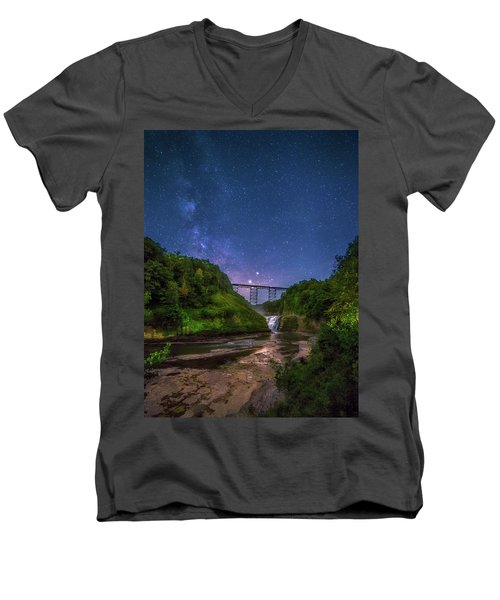 Men's V-Neck T-Shirt featuring the photograph Letchworth At Night by Mark Papke