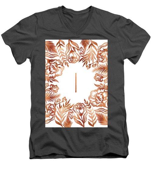 Letter I - Rose Gold Glitter Flowers Men's V-Neck T-Shirt