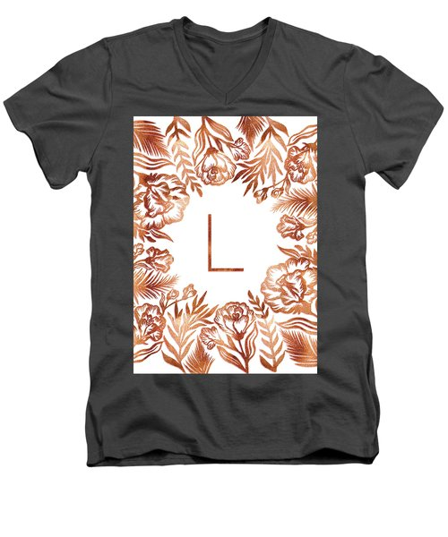 Letter L - Rose Gold Glitter Flowers Men's V-Neck T-Shirt