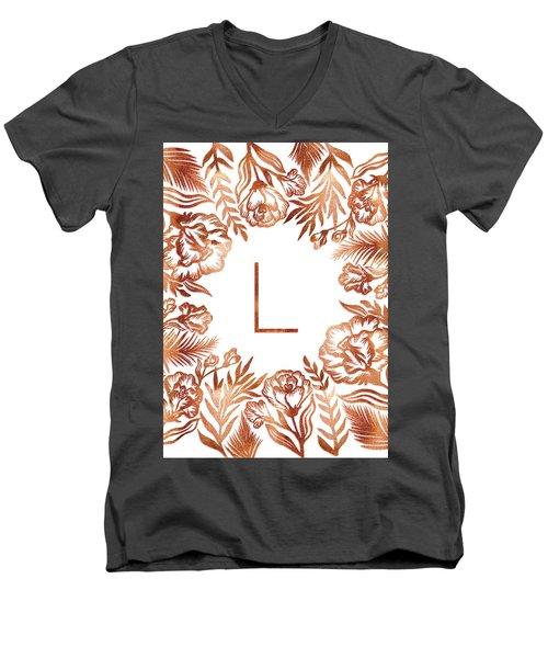 Letter L - Rose Gold Glitter Flowers Men's V-Neck T-Shirt
