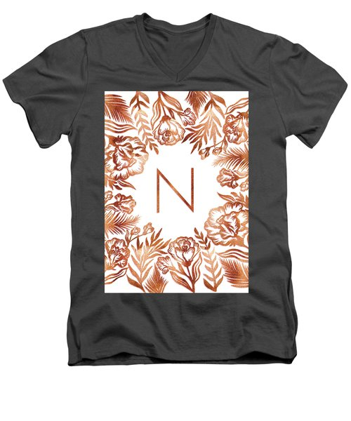 Letter N - Rose Gold Glitter Flowers Men's V-Neck T-Shirt