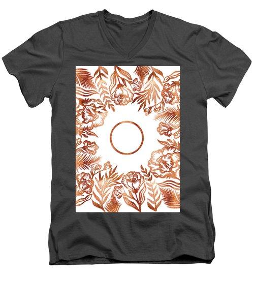 Letter O - Rose Gold Glitter Flowers Men's V-Neck T-Shirt