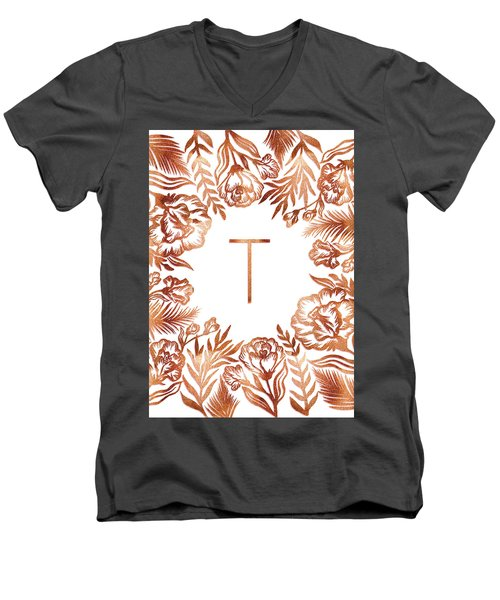 Letter T - Rose Gold Glitter Flowers Men's V-Neck T-Shirt