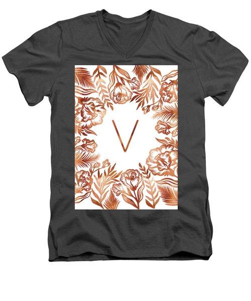Letter V - Rose Gold Glitter Flowers Men's V-Neck T-Shirt