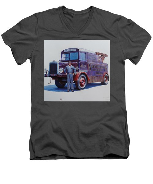 Men's V-Neck T-Shirt featuring the painting Leyland Wrecker 1930. by Mike  Jeffries