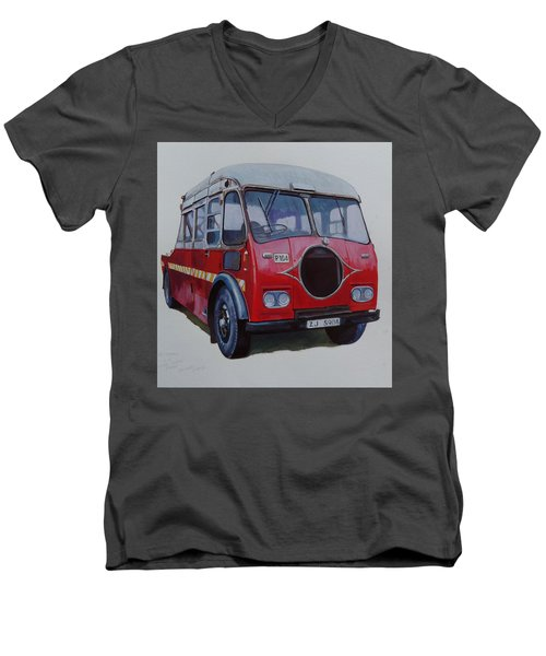 Men's V-Neck T-Shirt featuring the painting Leyland Wrecker Cie by Mike Jeffries