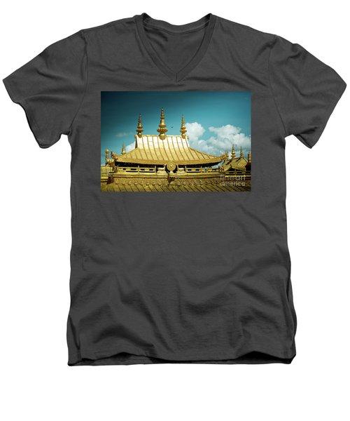 Lhasa Jokhang Temple Fragment Tibet Artmif.lv Men's V-Neck T-Shirt