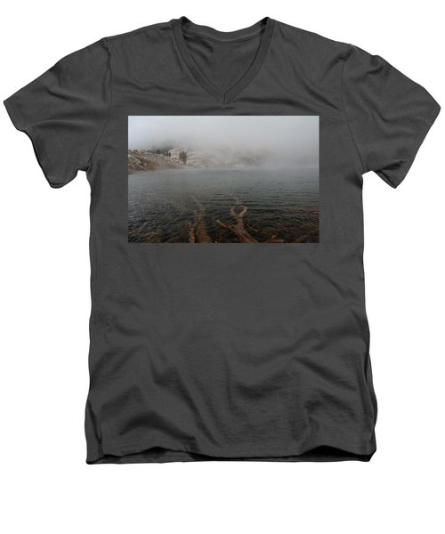 Men's V-Neck T-Shirt featuring the photograph Liberty Lake In Fog by Jenessa Rahn