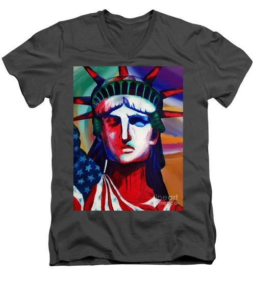 Liberty Of Statue New York 98jhm Men's V-Neck T-Shirt by Gull G