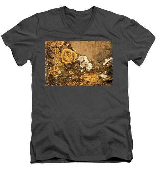 Men's V-Neck T-Shirt featuring the photograph Lichen On The Piran Walls by Stuart Litoff