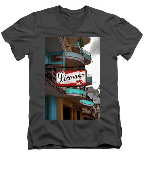 Men's V-Neck T-Shirt featuring the photograph Licorama Bar Liquor Store In Havana Cuba At Calle 6 by Charles Harden