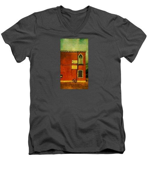 Men's V-Neck T-Shirt featuring the photograph Lido Lion by Anne Kotan