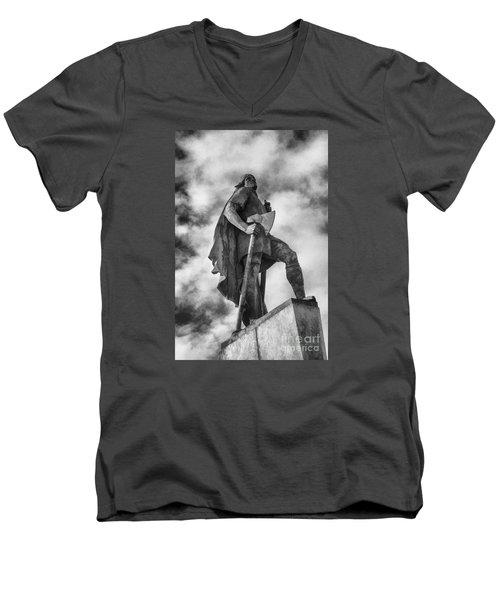 Lief Ericsson Reykjavik Men's V-Neck T-Shirt by Rick Bragan