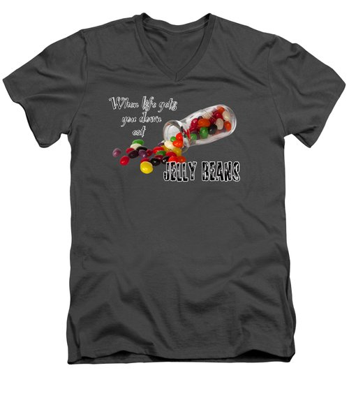 Life And Jelly Beans Men's V-Neck T-Shirt by Phyllis Denton