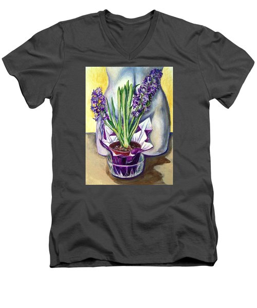 Men's V-Neck T-Shirt featuring the drawing Life Spring by Laura Aceto