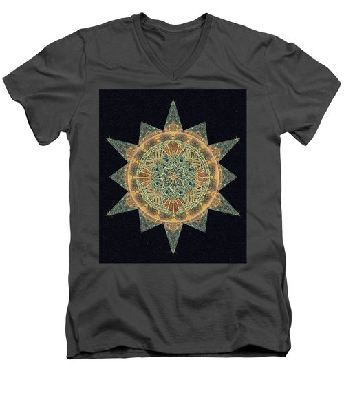 Men's V-Neck T-Shirt featuring the drawing Life Star Mandala by Deborah Smith