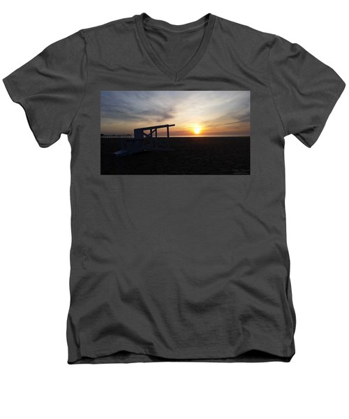 Lifeguard Stand And Sunrise Men's V-Neck T-Shirt by Robert Banach