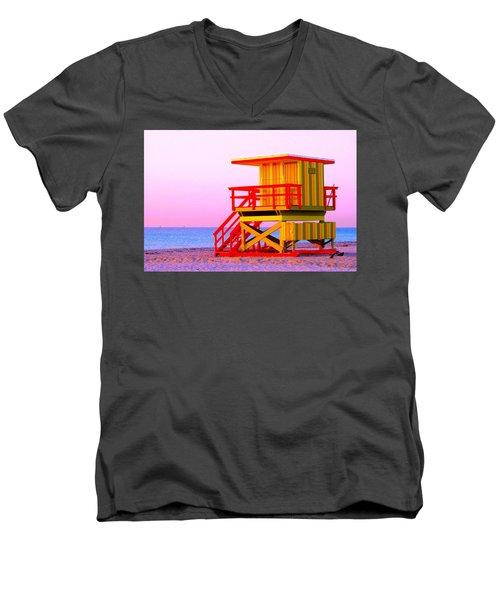 Lifeguard Stand Miami Beach Men's V-Neck T-Shirt