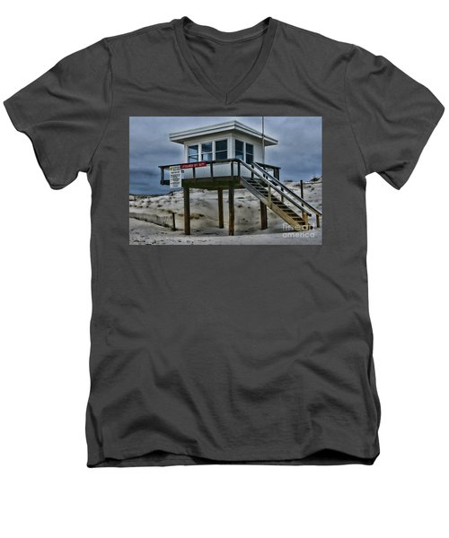 Men's V-Neck T-Shirt featuring the photograph Lifeguard Station 2  by Paul Ward