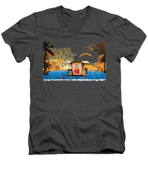 Lifeguard Station 6b Men's V-Neck T-Shirt by Paulette B Wright