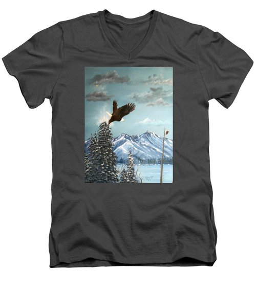 Lift Off Men's V-Neck T-Shirt by Al  Johannessen