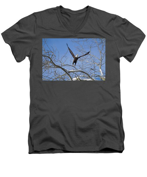Men's V-Neck T-Shirt featuring the photograph Lift Off by Jim  Hatch