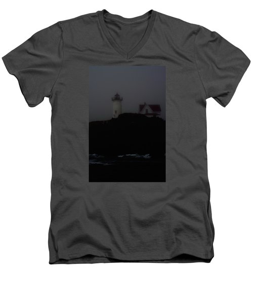 Men's V-Neck T-Shirt featuring the photograph Lifting Fog Near Perkin's Cove by Richard Ortolano