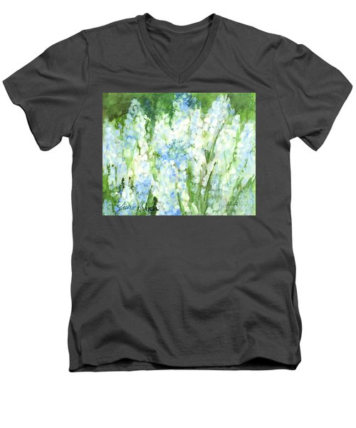 Men's V-Neck T-Shirt featuring the painting Light Blue Grape Hyacinth. by Laurie Rohner