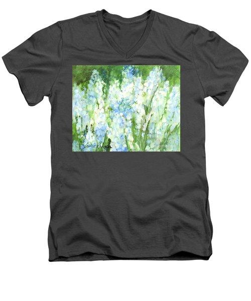 Light Blue Grape Hyacinth. Men's V-Neck T-Shirt