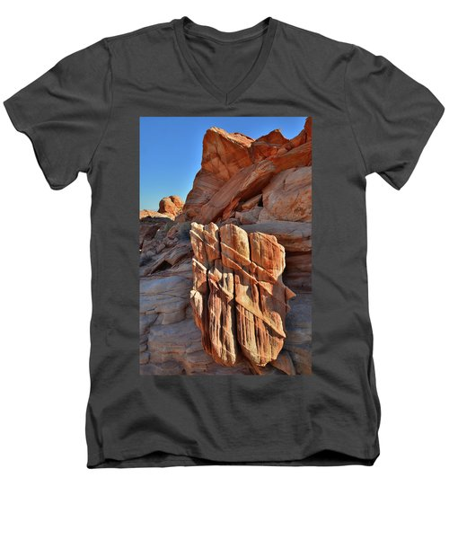 Light Creeps In At Valley Of Fire State Park Men's V-Neck T-Shirt