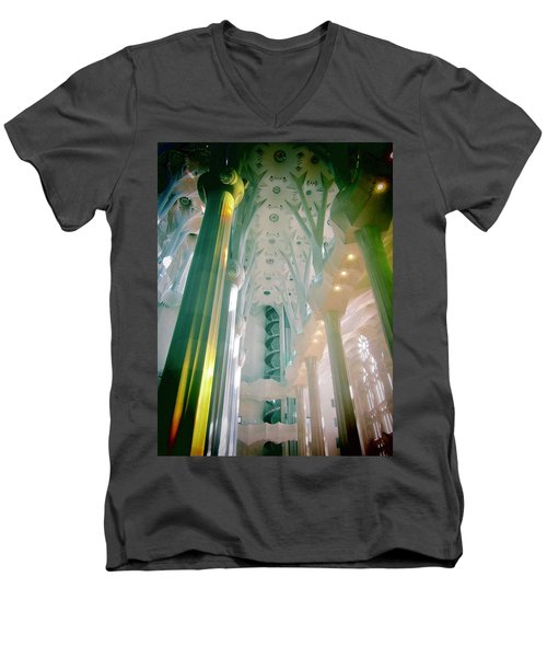 Men's V-Neck T-Shirt featuring the photograph Light Dancing On The Ceiling by Christin Brodie