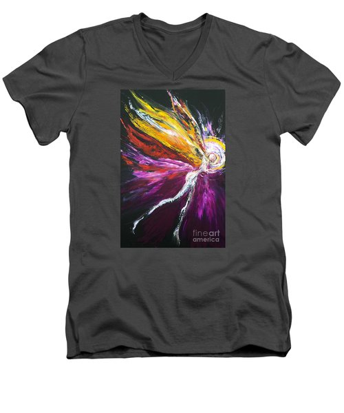 Men's V-Neck T-Shirt featuring the painting Light Fairy by Marat Essex