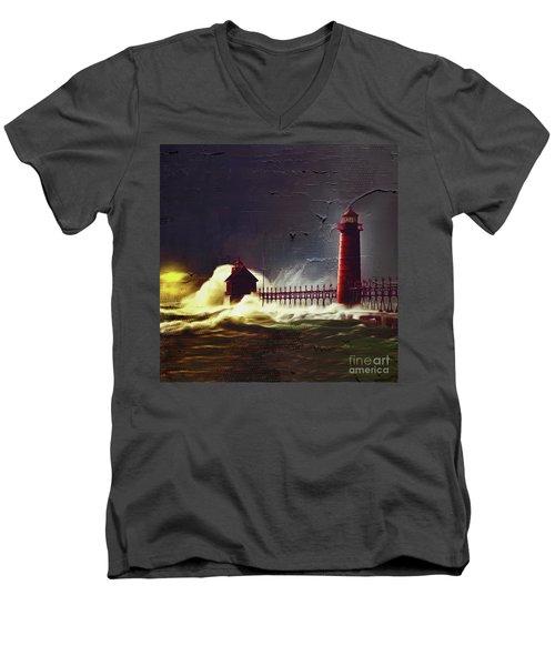 Light House 07 Men's V-Neck T-Shirt by Gull G