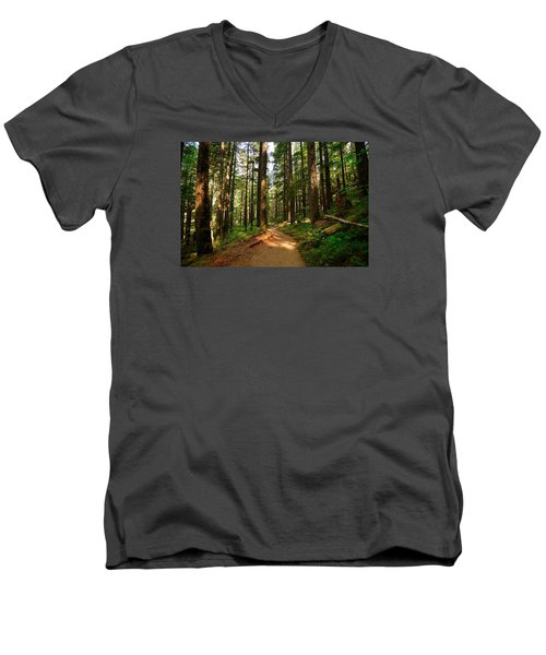 Men's V-Neck T-Shirt featuring the photograph Light In The Forest by Lynn Hopwood
