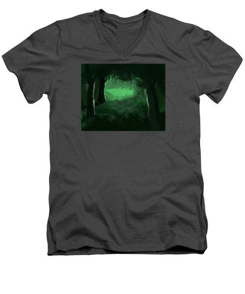 Men's V-Neck T-Shirt featuring the digital art Light In The Forest by Walter Chamberlain