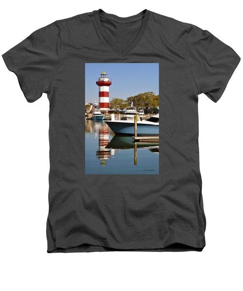 Light In The Harbor Men's V-Neck T-Shirt by Kay Lovingood